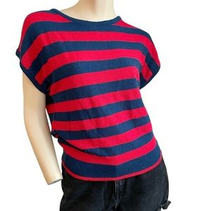 Vintage 70s/80s blue & red short sleeve sweater- s